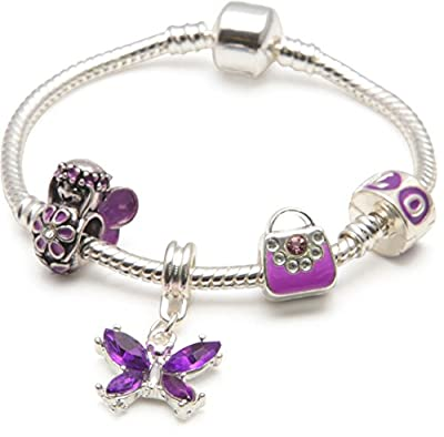Liberty Charms Girls Purple Fairy And Butterflies' Silver Plated Charm Bead Bracelet