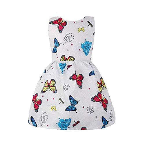 Yuan  Kleinkind Kind Baby mädchen Schmetterling baumwolldruck Prinzessin Kleid ärmellose Outfits Mädchen Kleid & Rock O-Ausschnitt Abend Party Kleider
