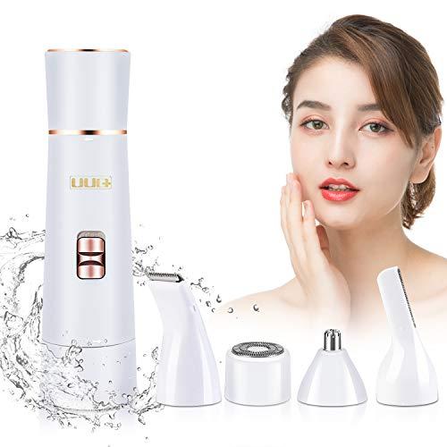 Depiladora Facial para Mujer, UUQ 4 en 1 Depiladora Femenina Recortadora,Removedor de Vello Facial para Piernas y Axilas, la Línea del Bikini(Afeitadoras de Pelo Extra)