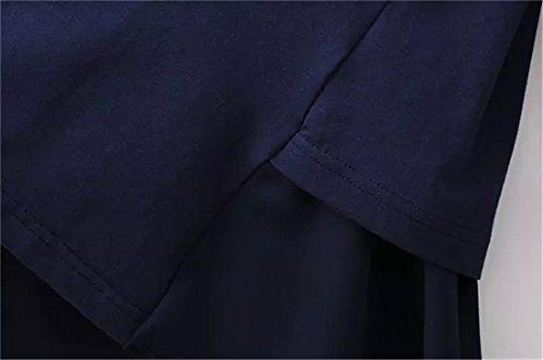 QIYUN.Z Frauen Weiss / Blau Falsche Zweistuecke Shirts Blumenkragen Langen aermeln Europe Blau