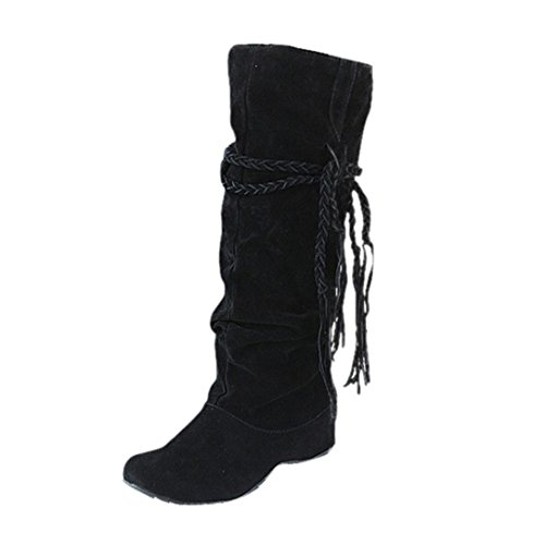 FNKDOR Damen Unsichtbarer High-Heel Stiefel Boots Rutschfest Winterstiefel Elegant Schuhe(Schwarz,EU:42 (CN:43))