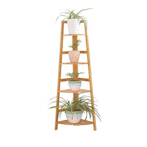 Soporte De Flores Para Interiores, Simple Soporte Moderno Colocar Suelo Soporte Flores Madera Estante Esquina Estante Plantas Suculentas Varios Niveles Bambú, Patio Exterior Balcón Estante Decorativo