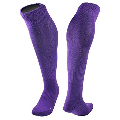 Yogogo 1 Paar Baumwollgarn und Nylon-Mischung Strümpfe Fußball-Socken Solid Color Optional (Lila) (Socken Injinji Liner)