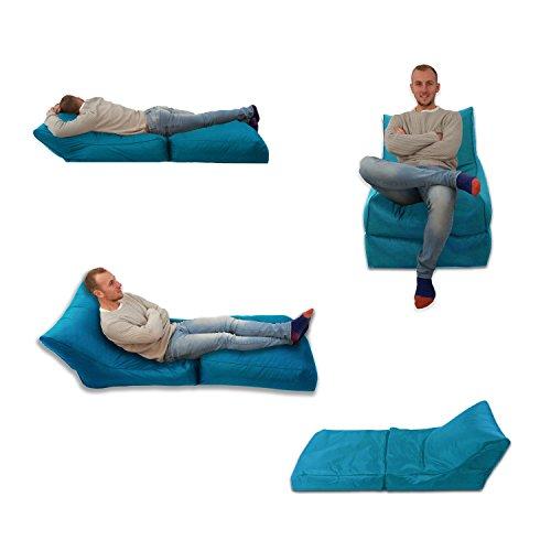 MaxiBean Puf Cama Silla Azul Turquesa Uso en Exterior e Interior tamaño Extra Grande para Videojuegos Asiento XXXL Resistente a la Intemperie (Resistente al Agua)