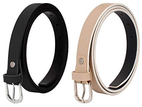 SIDEWOK Combo of Plain Casual Sleek Belts For Women/Girls (Combo-2)