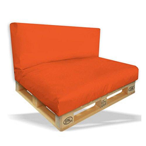 Palettenkissen 2er Set - Sitzpolster 120x80x15cm + Rückenkissen 120x40x10cm Farbe Orange