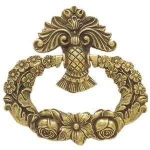 Ferrures & Patines - Poignee de meuble avec anneau en bronze style empire / restauration pour commode, buffet, bureau ou secretaire - Hauteur : 82 - Largeur : 85