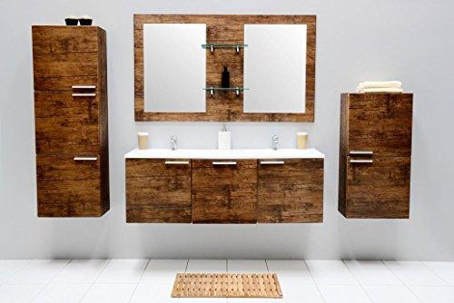 mit Waschbecken Spiegel Unterschrank Hochschrank Hängeschrank Waschtisch Doppel Waschbeckenunterschrank Badezimmer Set vormontiert (Braun) ()