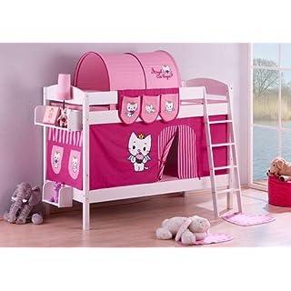 Lilokids Etagenbett IDA 4105 Angel Cat Sugar, Teilbares Systembett mit Vorhang und Lattenroste Kinderbett, Holz, weiß, 208 x 98 x 150 cm