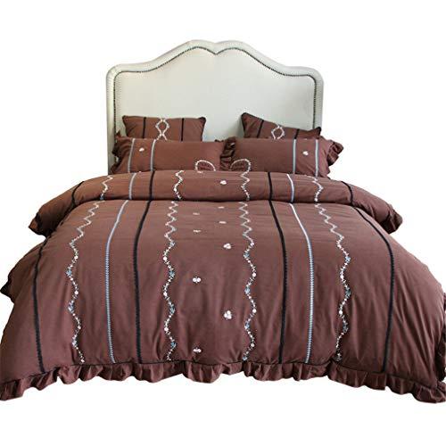 Bettwäsche-Set, Bestickt, gestreift, 4-teilig, 100% Reine Baumwolle, Fell, Winterverdickung, weich, Queen American Style, 1 Bettlaken, 2 Kissenbezüge, Braun, Doppelbett -