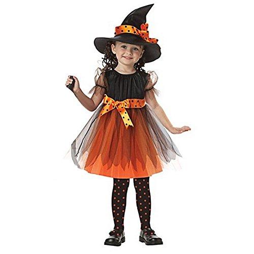 Hexenkostüm für Kinder Halloween Weihnachten Kostüm Mädchen Hexenkleid und Hut Orange 92-98
