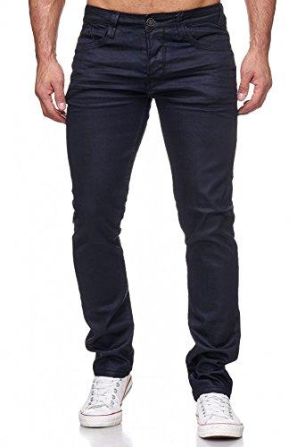 Herren Jeans Hose Coated Leder Optik Beschichtet H2171,Schwarz,W33 (Schwarz Leder Herren Hose)