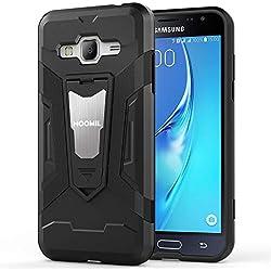 HOOMIL Coque Samsung Galaxy J3 2016,Antichoc Armor Silicone Bumper Case avec Support Etui Housse pour Samsung Galaxy J3 (2016) - Noir (H3226)