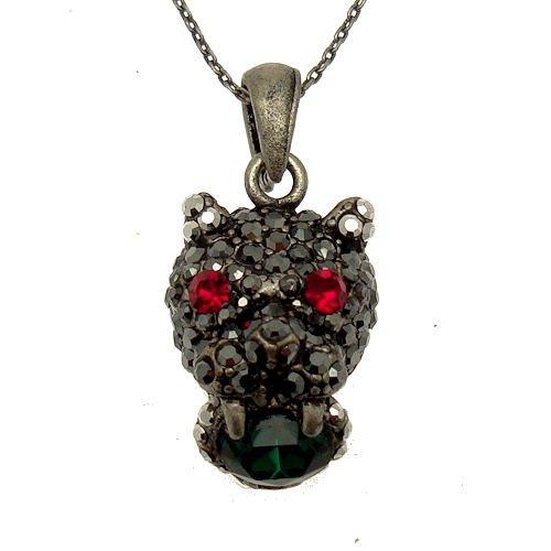 Acosta-ematite & rosso, verde, misura piccola, motivo leopardato, con cristalli di swarovski, a forma di gatto, stile vintage, gioielli