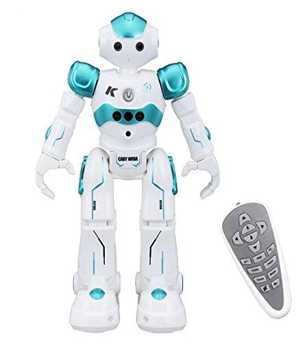 Virhuck R2 Ferngesteuerter Roboter, Intelligente Programmierung Geste Sensing RC Robot Kit, Tanzen Singen Walking RC Spielzeug für Kinder Unterhaltung, mit 500 mAh Wiederaufladbare Batterie - Blau