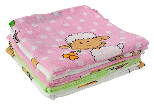 ByBoom - Mullwindeln - Stoffwindeln - Spucktücher - Bunt - 70x80 cm - 5er Pack, 100% Baumwolle; MADE IN EU, Farbe:Rosa - Schäfchen