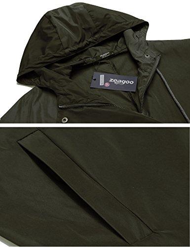 Zeagoo Damen Regenjacke Kapuzejacke Wasserdicht Übergangsjacke Windbreaker Funktionsjacke Leicht Regenmantel mit Taschen Armee-Grün