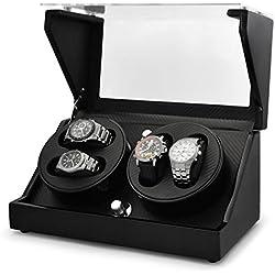 Klarstein CA2PM Uhrenbeweger Uhrenkasten (für 4 Uhren, Karbon Optik, handgearbeitet, 4 Programme, integr. Akku) schwarz