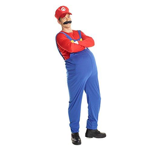 Herren Mario Kostüm Rot Super-Brüder Klempner Karneval, Halloween oder Parteien Kleidung - Groß (42-44 Zoll / 107-112 cm (Super Mario Kostüm)