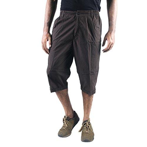 0-Degree Shorts 3by4 knee length Three Fourth Capri Men Chinos Cotton Bermuda Grey 34 (3by4ClassicGrey34)