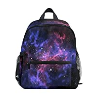 QMIN Kids Backpack Universe Galaxy Star Space, Small Toddler Preschool Shoulder Bag Travel Elementary Kindergarten School Bags for Girls Boys Children