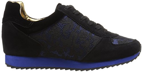 Nine West Telly Suede Fashion Sneaker Black/Blue Multi