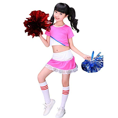 Kostüm Mädchen Allerheiligen - YAGATA Mädchen Cheerleader Kostüm Kinder Cheerleader Rock Cheerleader Uniform Allerheiligen Kostüm mit 2 Pompoms und Socken Cheerleader Bekleidung für Fasching und Partys,Pink,140