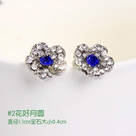 FUWUX Zubehör Dekorative Perle Lange Vier-Blatt-Blume-Ohr-Nagel-Ohrringe-Ohren-Einrichtungsgegenstände 0429 Blaue Kristallblume.