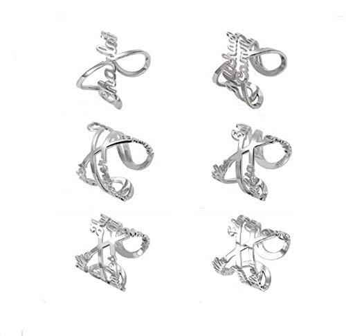 hjsadgasd Custom Spiral Twist Ring Engraved 6 Namen personalisierte Geschenk 925 Sterling Silber Versprechen Ring Paar Geschenke