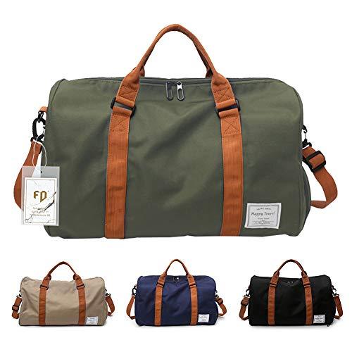FEDUAN Herren Handgepäck Trainingstasche Fitnesstasche Gym Tasche Sporttasche hochwertige Reisetasche mit Schuhfach 48x26x28 cm mit Schultergurt (Grün)