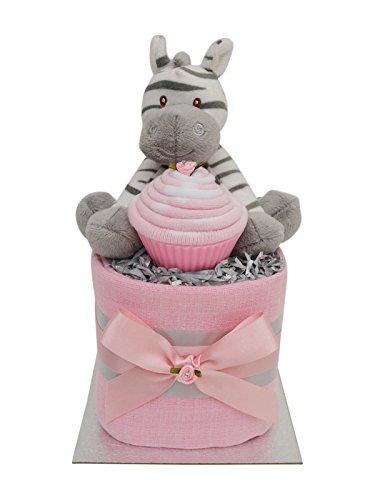Lovely Pink Zebra Themed Square Mini New Baby Girls Nappy Cake Baby Shower Gift