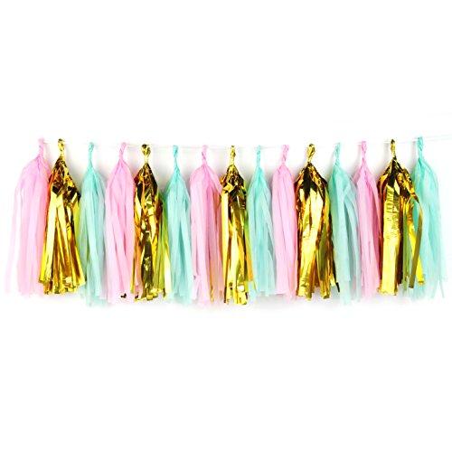 SUNBEAUTY 20Stück Sortiert Vier Farben handgefertigt Seidenpapier Quaste Girlande Seidenpapier Fransen Wimpelkette DIY Girlande Pom für Baby Dusche Hochzeit Geburtstag Mint,pink,Gold