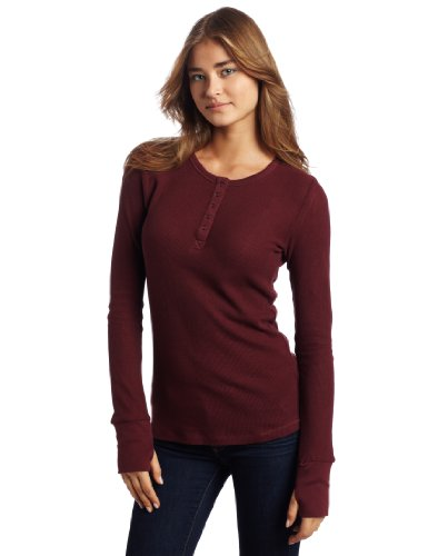 gramicci Damen Julia Henley Long Sleeve KNIT, damen, Chokecherry (Long Sleeve Henley Knit)