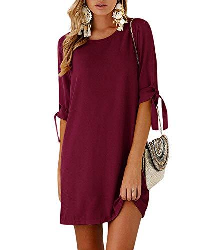 Damen Casual Langes T-Shirt Kleid Lose Tunika Kurzarm Rundhals Minikleid mit Bowknot Ärmeln, M=EU38,  Weinrot ()