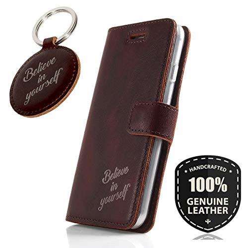 SURAZO Graphit Believe - Premium Vintage Ledertasche Schutzhülle Wallet Case aus Echtesleder Farbe Western Dunkelbraun für Huawei P10 Lite (5,20 Zoll)