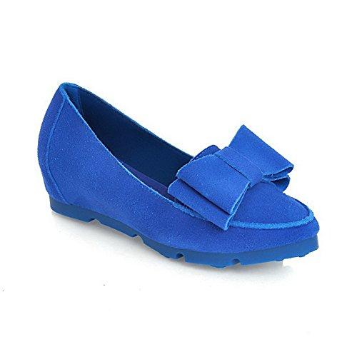 AllhqFashion Femme Couleur Unie Suédé à Talon Bas Rond Tire Chaussures Légeres Bleu