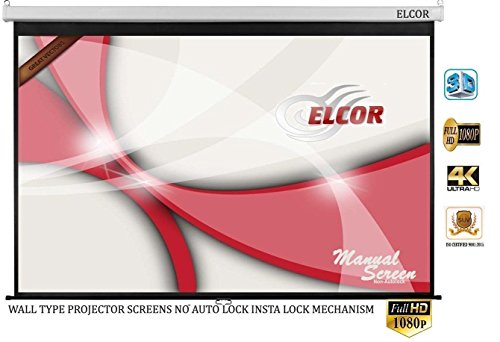 ELCOR Wall type Pull down Spring action projector screens 6ft width x 4ft height In Auto Roll Back System( Comes with Imported matte fabric with 1080P, 3D and 4K Technology) | No auto lock/ Insta-lock Mechanism