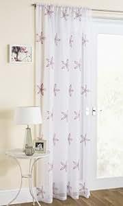 Voilage blanc avec Rose Cerise seqin Star Pétale Fleur rideau panneau 149,9x 182,9cm