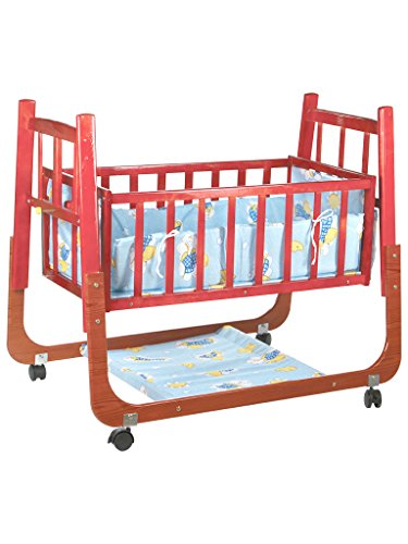 Mee Mee Mee Mee Baby Cradle with Swing and Mosquito Net, Compact, Wooden
