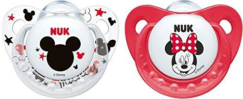 NUK 10175172 Disney Mickey Silikon-Schnuller, kiefergerechte Form, 0-6 Monate, 2 Stück, rot