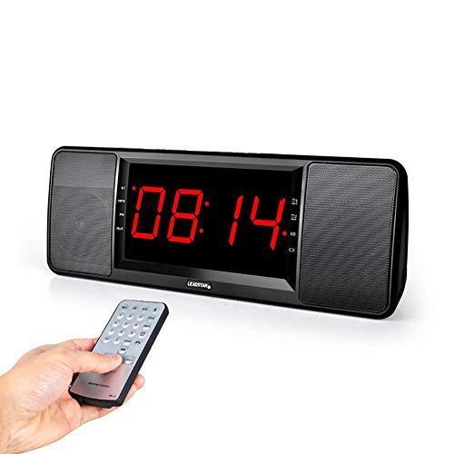 Radio Réveil Enceinte Bluetooth avec FM, Télécommande, Horloge Numérique USB, Multifonctionnel Sans Fil Portable Horloge Digitale Clock LED, 1800 MAH