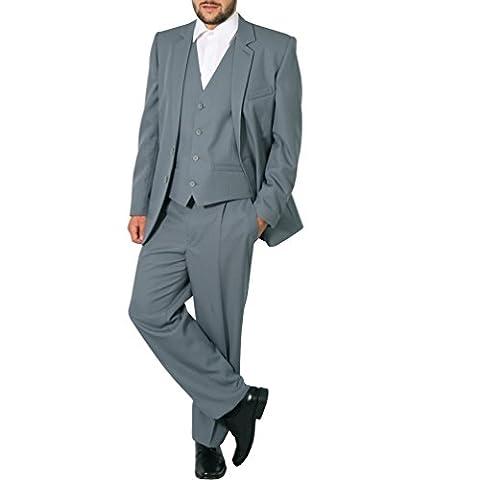Regular Herren Anzug 3Teiler Sakko Hose Weste Büro Business Hochzeit H10 (64, Grau)