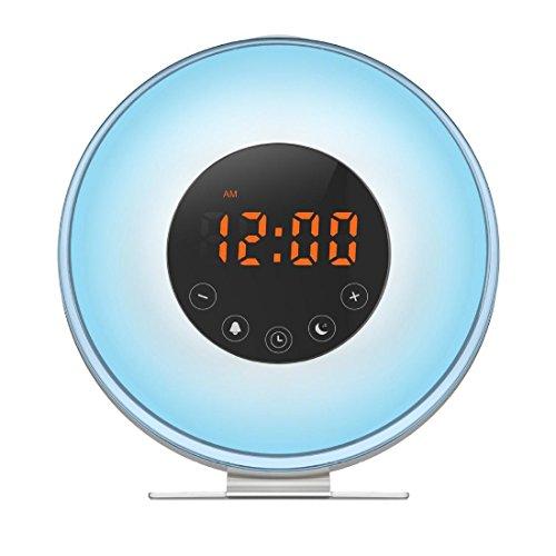 QQA Bedside Wecker, Sonnenaufgang & Sonnenuntergang Simulator USB LED Digitaluhr Wake up Licht FM Radio Touch Control