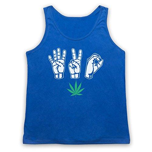 420 Cannabis Leaf Weed Pot Culture Fingers Tank-Top Weste Blau