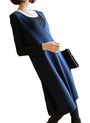 Smile YKK Pull Sans Manche Femme Gilet Col V Veste Robe Tricot Haut Automne Hiver Bleu