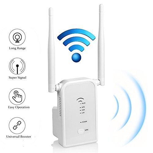 Répéteur Wifi Routeur N300 longue portee Extenseur Sans Fil Mini Point d'accès Internet Amplificateur De Signal ,2 Port Ethernet, Installation Facile, 2.4GHz, WPS, Compatibilité Universelle-Blanc