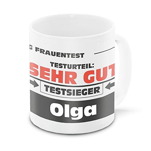 Namens-Tasse Olga mit Motiv Stiftung Frauentest, weiss   Freundschafts-Tasse - Namens-Tasse