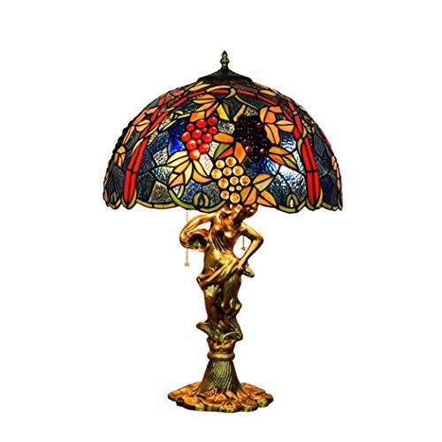 Art Glass Vintage Tisch Lampe (YJFFAN Tischlampe, Art Glass Wohnzimmer Esszimmer Hotel Club Dekoration Schreibtisch Lampe Tiffany Reißverschluss Lampe Bett Seite Große Tischlampe E27 (Glühbirnen Nicht Enthalten))