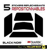 Yellow BearTM Easy Five TM, Kit 5 Stickers Retro réfléchissants REPOSITIONNABLES, pour Casque Moto, 3MTM Technology, Noir