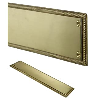 Georgian Style Solid Brass Door Finger Plate Push Enter Exit